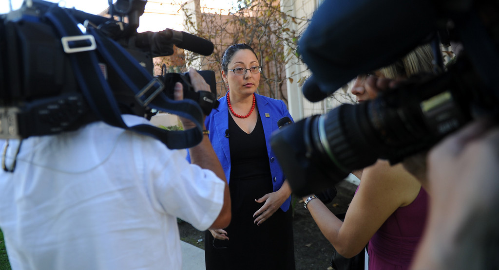 . Assembly member Cristina Garcia (D-Bell Gardens) speaks during a press conference with concerned regional elected officials calling for Senator Ron Calderon to resign his position in the California State Senate in front of the Bell Gardens City Hall in Bell Gardens , Calif., on Wednesday, Nov. 13, 2013.   (Keith Birmingham Pasadena Star-News)