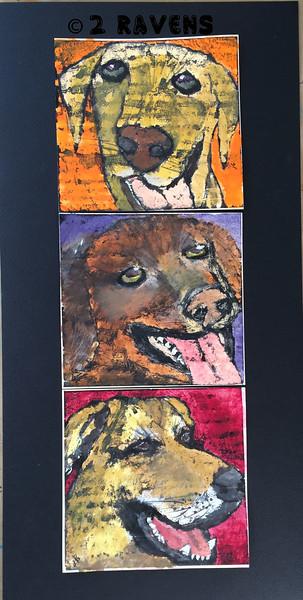 Three dog triptich,  gouache/ink resist, each piece 6x6 SOLD