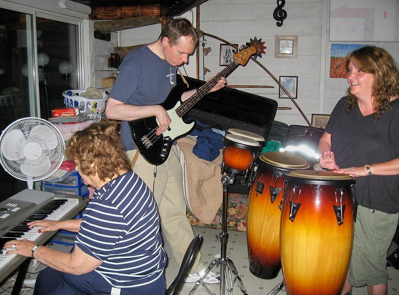 Shirley Lebin, FL, Linda (Lebin) Gabriel jamming in Lock Haven PA. The last time I played music with Shirley.