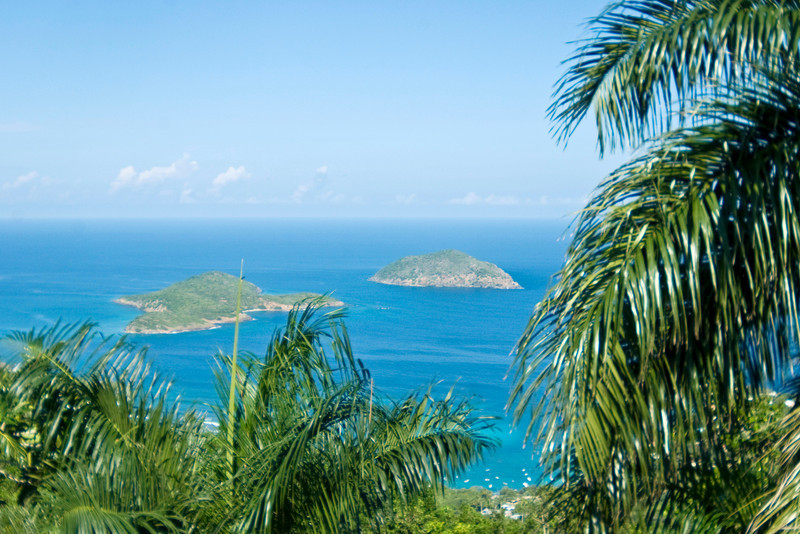 Hillside view of St Thomas and surrounding islands