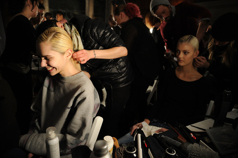. Models backstage at the JC Obando fashion show Mercedes-Benz Fashion Week Fall 2014 at Academy Mansion on February 6, 2014 in New York City.  (Photo by Ilya S. Savenok/Getty Images)