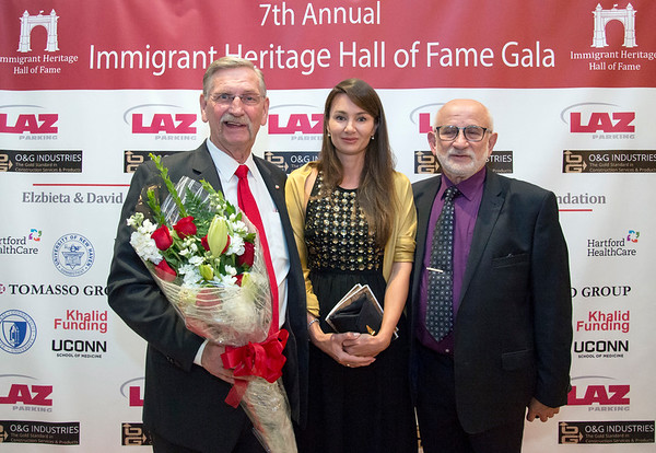 09/26/19 Wesley Bunnell | StaffrrThe Immigrant Heritage Hall of Fame Gala and Induction Ceremony took place on Thursday evening at The Aqua Turf in Southington including two inductees with New Britain ties. Dr. Zulma Toro the President of CCSU and former mayor of New Britain Lucian Pawlak. Inductee Lucian Pawlak, Kamila Wisniewska, and fellow Immigrant Hall of Fame member Roman Nowak.