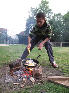 Pan-fried bread on fires