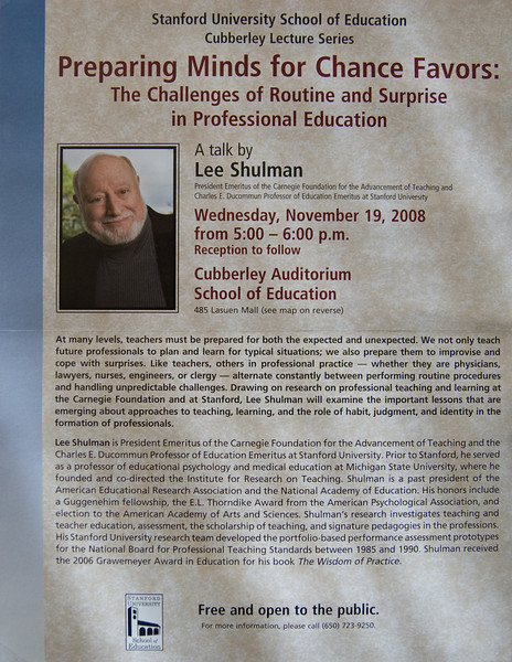 Lee Shulman: Preparing Minds for Chance Favors