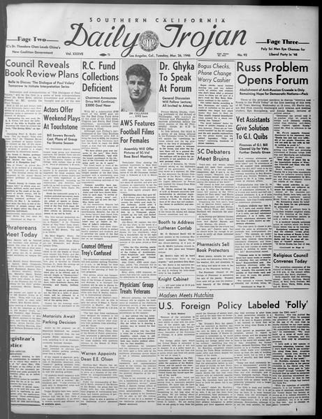 Daily Trojan, Vol. 37, No. 92, March 26, 1946