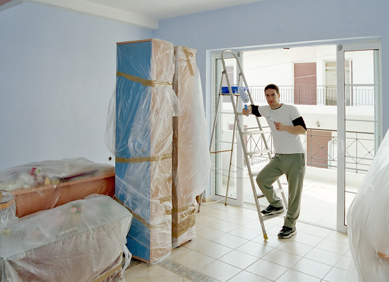 Painting my first Ilioupolis house (January 2006)