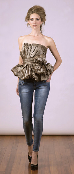 Silk taffeta bustier, jeans (models own).