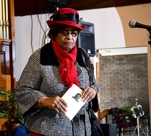 2/22/2020 Mike Orazzi | StaffrWorship Leader Isabelle Carr during the Bristol NAACP Black History Month musical held at the Bridge Community Church on School Street in Bristol on Saturday.