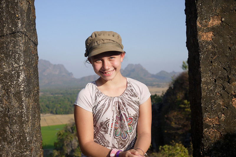 Ana looking out over the pretty countryside near Hpa-An, Burma.