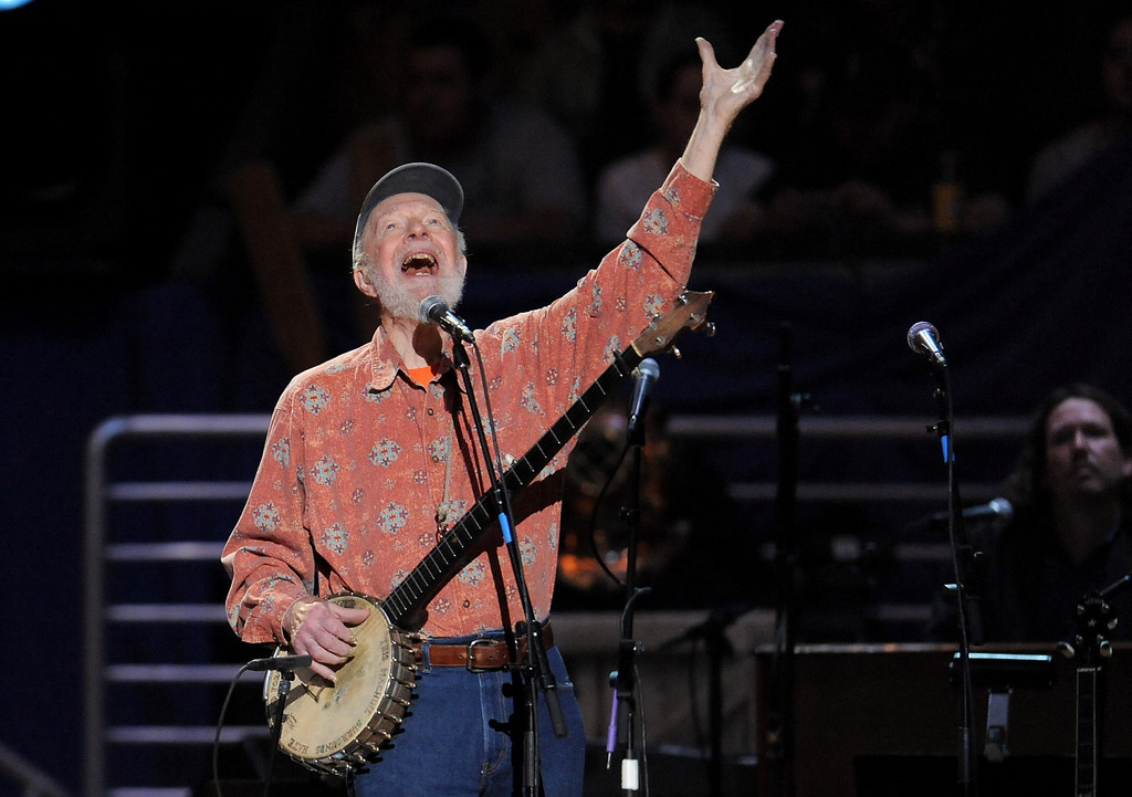 . Pete Seeger performs at the benefit concert celebrating his 90th birthday at Madison Square Garden on Sunday, May 3, 2009 in New York. The concert is a benefit for Hudson River Sloop Clearwater, created by Pete Seeger to preserve and protect the Hudson River. (AP Photo/Evan Agostini)