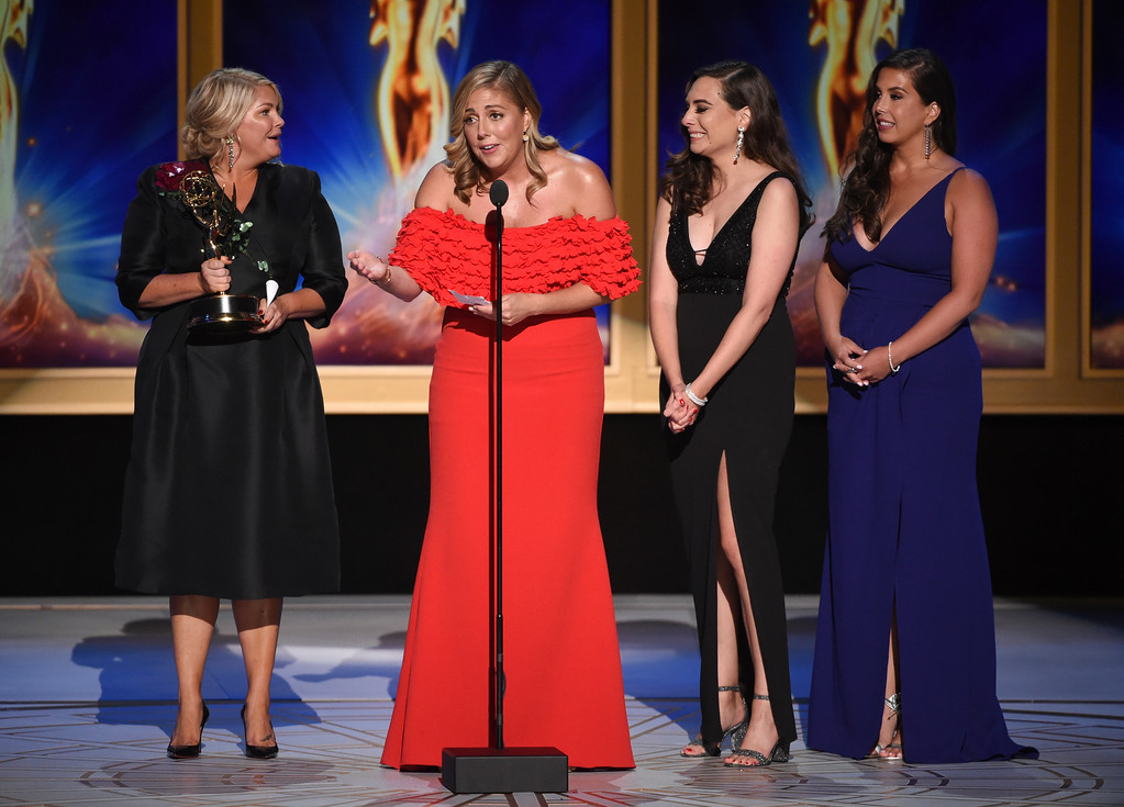 ". Gretchen Palek, from left, Danielle Gervais, Beyhan Oguz, and Ally Capriotti Grant accept the award for outstanding casting for a reality program for ""Queer Eye\"" during night two of the Television Academy\'s 2018 Creative Arts Emmy Awards at the Microsoft Theater on Sunday, Sept. 9, 2018, in Los Angeles. (Photo by Phil McCarten/Invision/AP)"