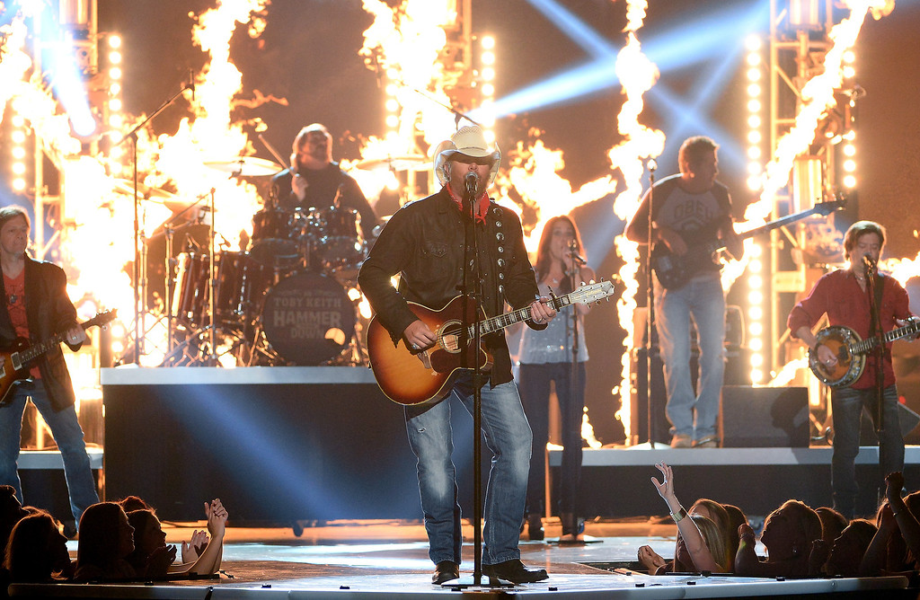 . Singer Toby Keith performs onstage during the 49th Annual Academy Of Country Music Awards at the MGM Grand Garden Arena on April 6, 2014 in Las Vegas, Nevada.  (Photo by Ethan Miller/Getty Images)