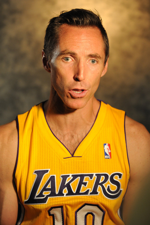 . Steve Nash. The Los Angeles Lakers held a media day at their El Segundo practice facility. Players were photographed for team materials, and interviewed by the press. El Segundo, CA. 9/27/2013. photo by (John McCoy/Los An8eles Daily News)