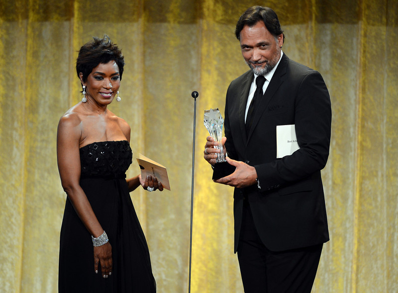. Actors Angela Bassett and Jimmy Smits speak onstage during Broadcast Television Journalists Association\'s third annual Critics\' Choice Television Awards at The Beverly Hilton Hotel on June 10, 2013 in Los Angeles, California.  (Photo by Mark Davis/Getty Images for CCTA)