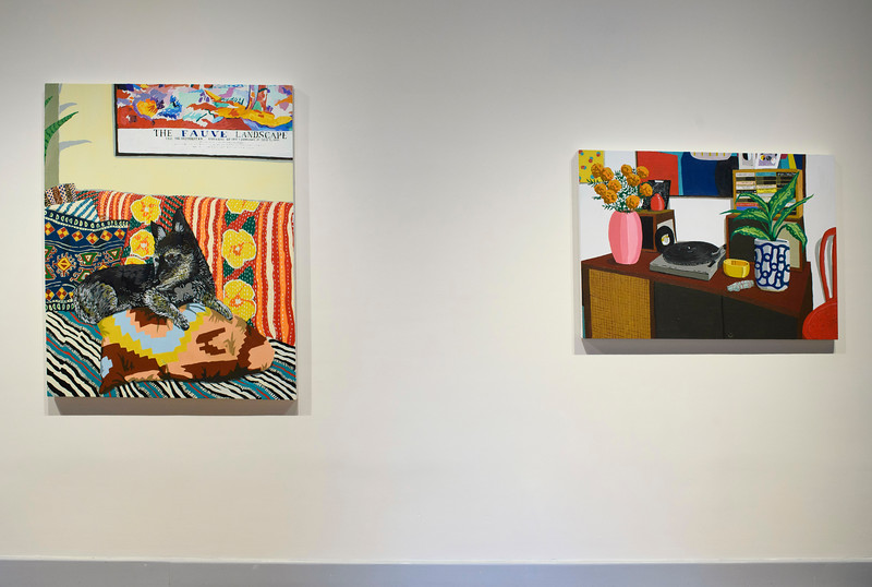 Jake under a painting, 2019 (left); Music Console, 2019 (right)