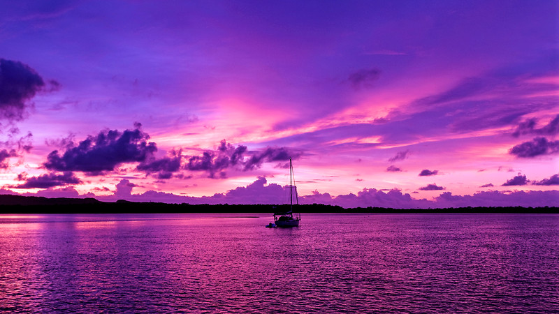A Picturesque cloudy nautical Sunrise Seascape. Australia.