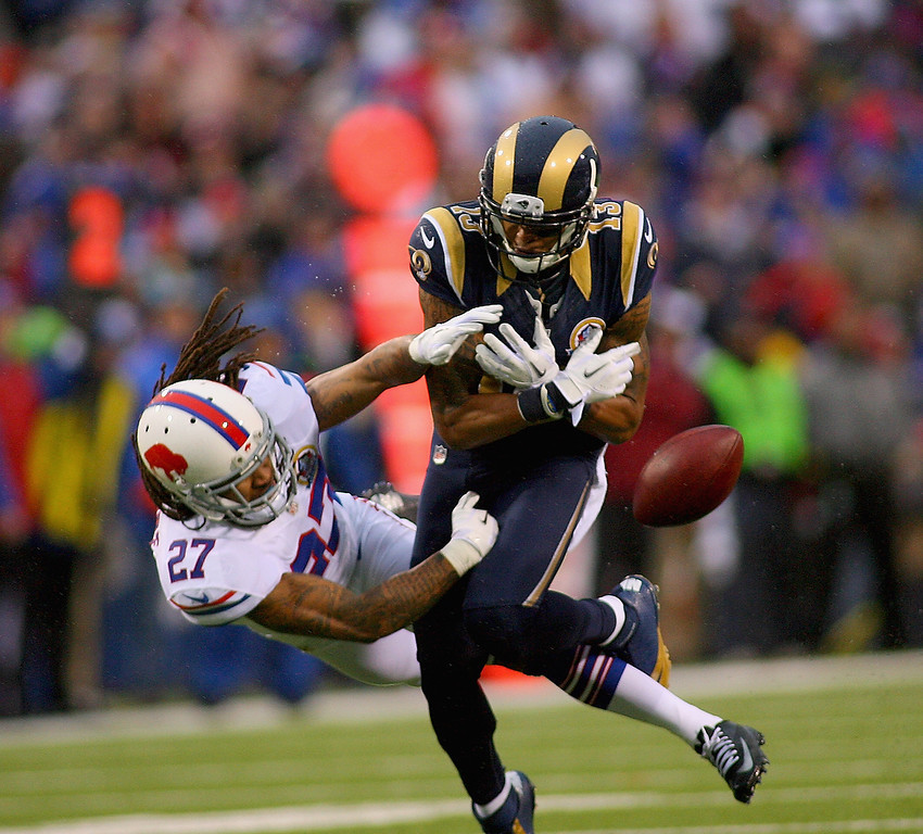 . Stephon Gilmore #27 of the Buffalo Bills  breaks up a pass intended for  Chris Givens #13 of the St. Louis Rams at Ralph Wilson Stadium on December 9, 2012 in Orchard Park, New York. St Louis won 15-12. (Photo by Rick Stewart/Getty Images)