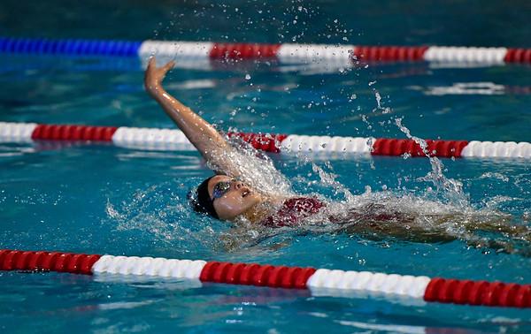 10/12/2019 Mike Orazzi | StaffrSt. Paul's Abigail MacAllister during the city swim meet on Saturday night. r