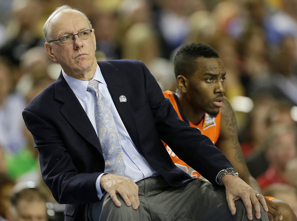 . Syracuse head coach Jim Boeheim watches play against Michigan during the first half of the NCAA Final Four tournament college basketball semifinal game Saturday, April 6, 2013, in Atlanta. (AP Photo/John Bazemore)