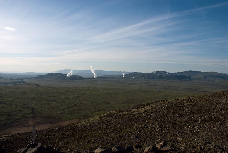 Gufur úr borholum Hellisheiðarvirkjunar