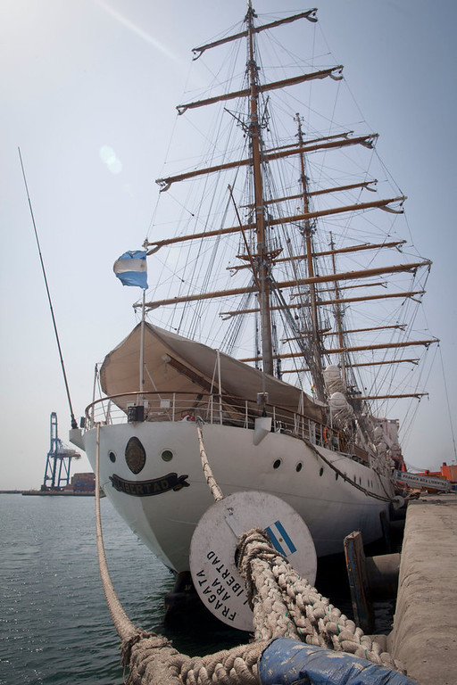 . Argentina\'s three-masted navy training tall ship ARA Libertad, which was seized on Oct. 2 as collateral for unpaid bonds dating from Argentina\'s economic crisis a decade ago, sits docked at the port in Tema, outside Accra, in Ghana Friday, Dec. 14, 2012. A U.N. court is expected on Saturday to deliver its order on whether the Argentine navy ship being held at the Ghanaian port should be released. (AP Photo/Gabriela Barnuevo)