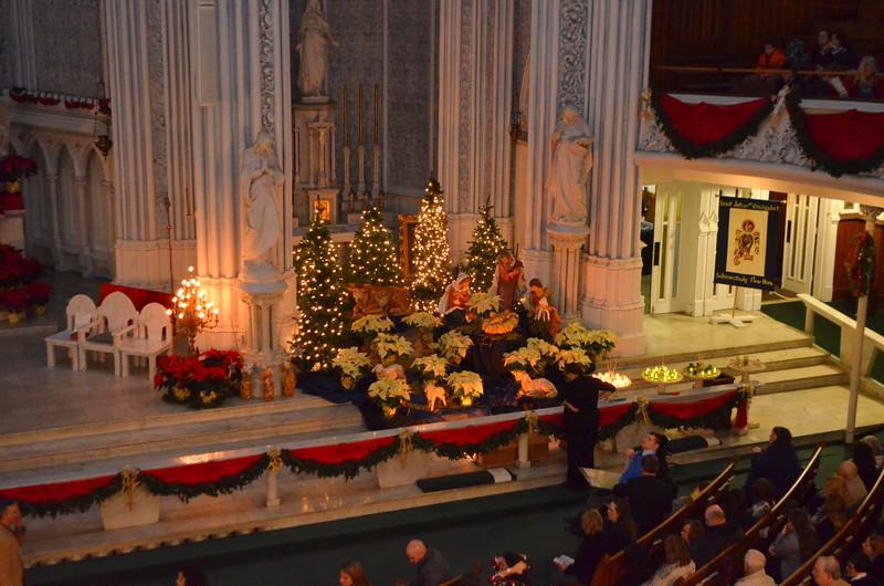 Manger scene on right side of altar.