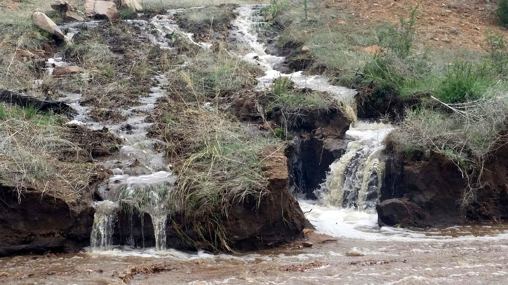 . 22DRFlooding4.jpg Waterfalls formed in Fremont County due to recent flooding. The photo was taken Thursday.  Debbie Bell/Courtesy photo