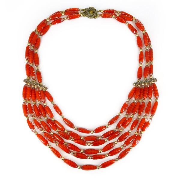 Vintage Mid Century Italian Giuliano Fratti Swirled Red Glass Bead Necklace