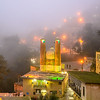 Masouleh and mosque at night in the fog