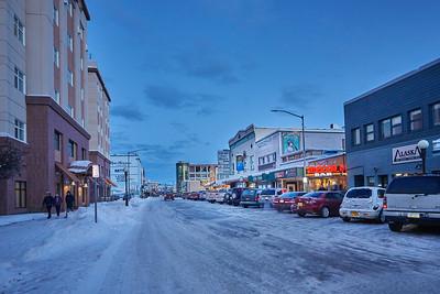 Midwinter's Dusk in Downtown Fairbanks