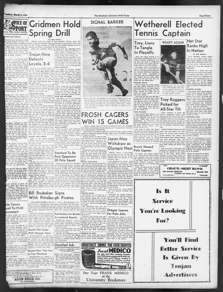 Daily Trojan, Vol. 29, No. 93, March 08, 1938