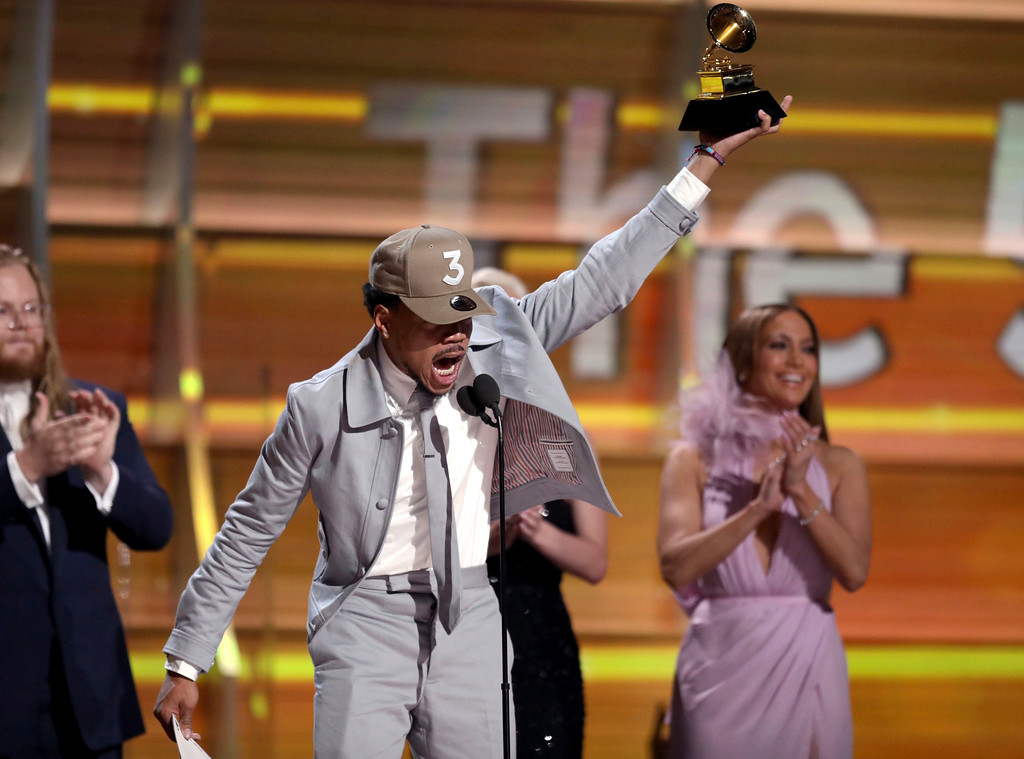 . Chance The Rapper accepts the award for best new artist at the 59th annual Grammy Awards on Sunday, Feb. 12, 2017, in Los Angeles. (Photo by Matt Sayles/Invision/AP)
