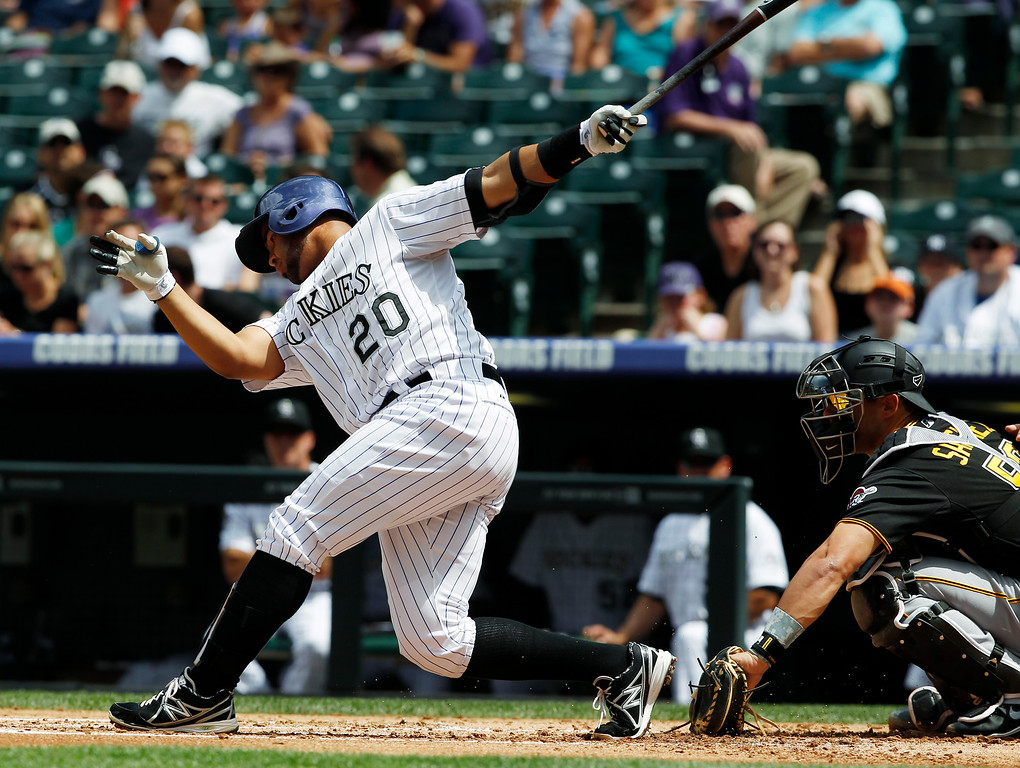 . Colorado Rockies\' Wilin Rosario, left, swings at a pitch as Pittsburgh Pirates catcher Tony Sanchez fields the throw in the first inning a baseball game in Denver, Sunday, Aug. 11, 2013. (AP Photo/David Zalubowski)