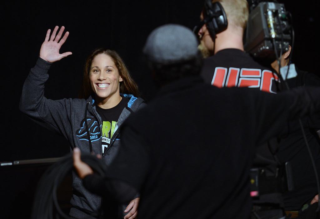 . UFC women�s bantamweight challenger Liz Carmouche  during weigh-ins for UFC 157 Rousey vs Carmouche at the Honda Center in Anaheim Friday, February  22, 2013.  (Hans Gutknecht/Staff Photographer)