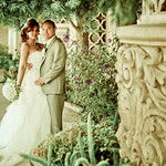 Groom and bride portrait with vera wang wedding gowns