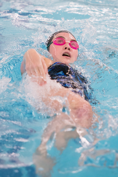 Southington's Madeline Symecko swims the backstroke in the 200 individual medley Wednesday at the YMCA in Southington September 27, 2017 | Justin Weekes / For the Record-Journal