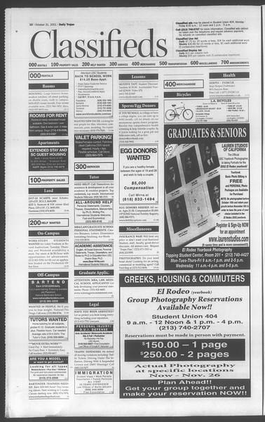 Daily Trojan, Vol. 144, No. 45, October 31, 2001