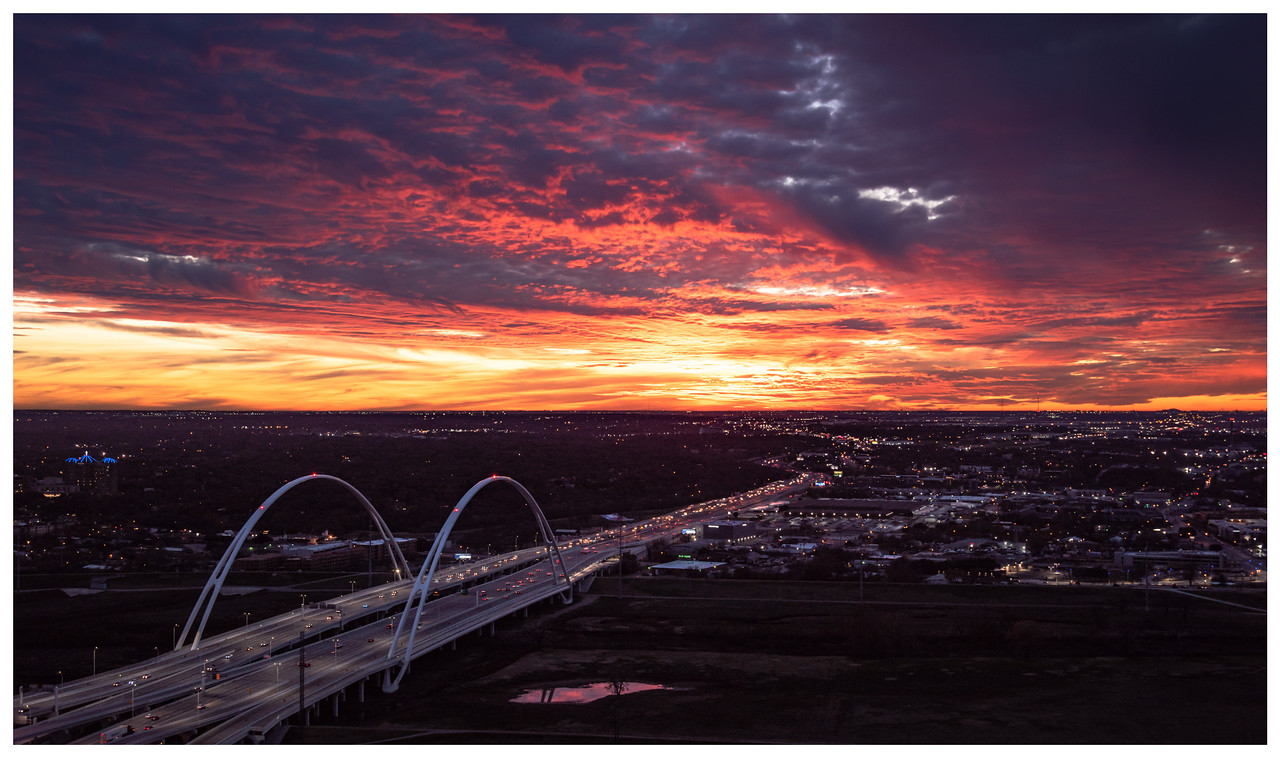 Sunset over a bridge in Dallas, Texas