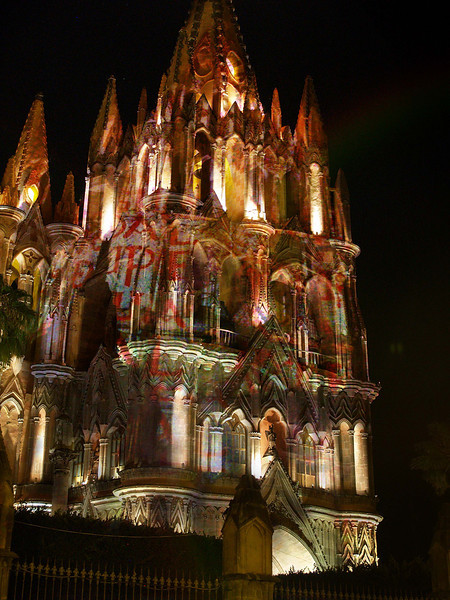 The Parroguia Catherdral's light show.