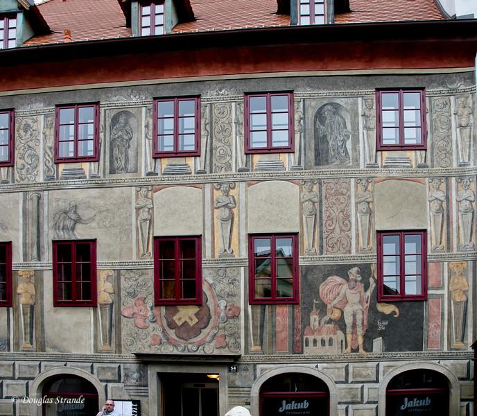 Mural details on Cesky Krumlov building