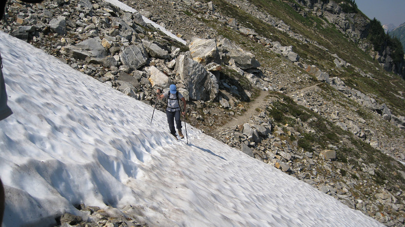 Snow crossing on High Pass route..only a few patches to cross now.