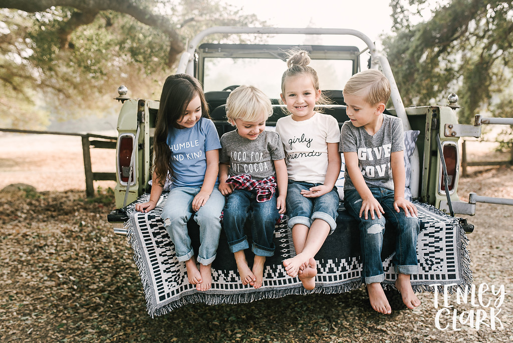 Kids in jeep. Playful kids fashion commercial brand shoot  for B+C California a kids t-shirt company in Bay Area by Tenley Clark Photography.