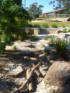 dry creek bed with boulders