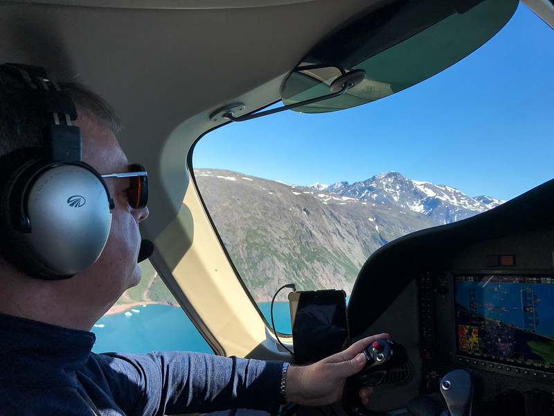 Climbing out of Narsarsuaq.  Fun flying between the mountains