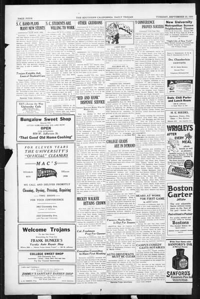 Daily Trojan, Vol. 17, No. 5, September 22, 1925