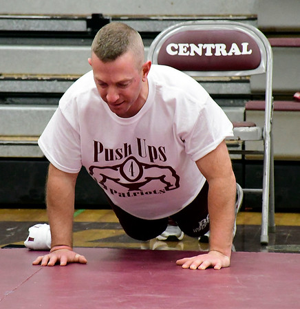 2/28/2020 Mike Orazzi | StaffrRyan Broderick, assistant principal at Bristol Central High School, while participating in the 6th annual Pushups for Patriots held at Bristol Central High School on Friday as a fundraiser for the Semper Fi Fund, which helps veterans re-integrate into civilian life after their service.rr
