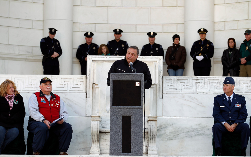 . Gov. Paul LePage of Maine speaks during the Wreaths Across America Day ceremony at Arlington National Cemetery on Saturday Dec. 10, 2011. (AP Photo/Jose Luis Magana)