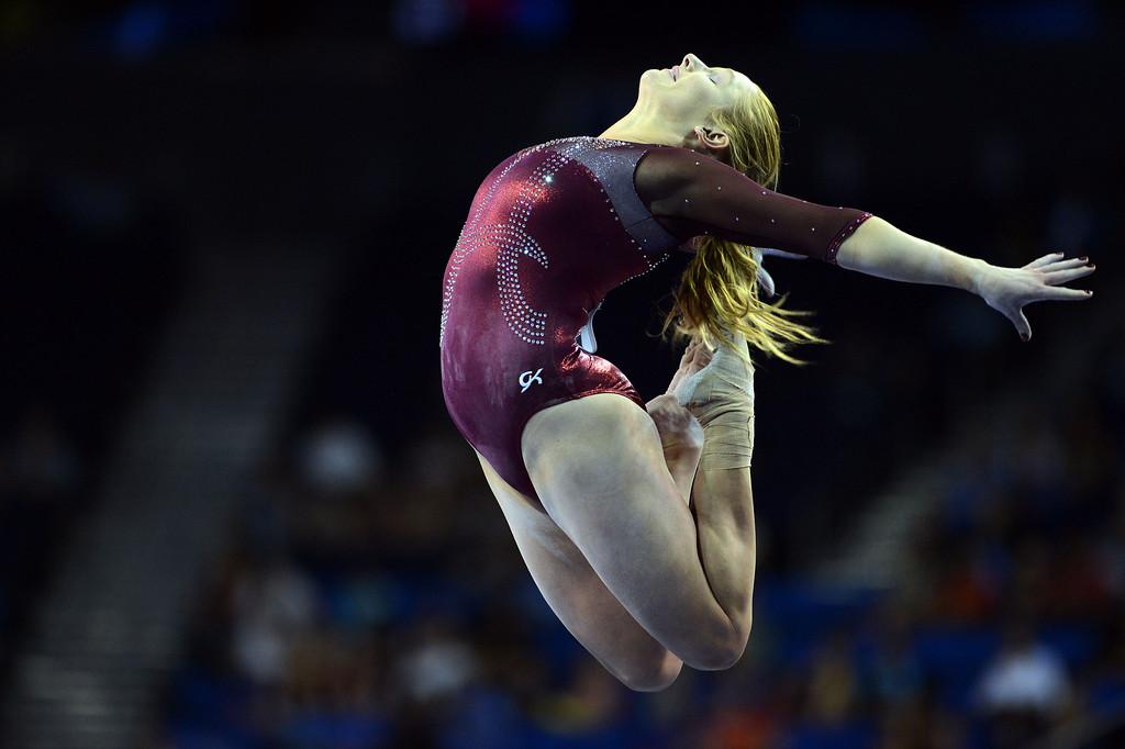 . Alabama\'s Ashley Priess on the balance beam during the NCAA 2013 Gymnastics Championships at UCLA\'s Pauley Pavilion Friday, April 19, 2013. (Hans Gutknecht/Staff Photographer)