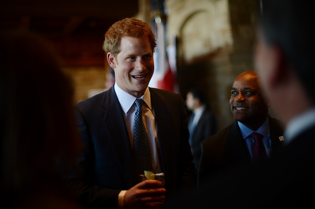 . SEDALIA, CO. - MAY 10 : Prince Harry is in the reception at Club House of Sanctuary Golf Course in Sedalia, Colorado. May 10, 2013. (Photo By Hyoung Chang/The Denver Post)