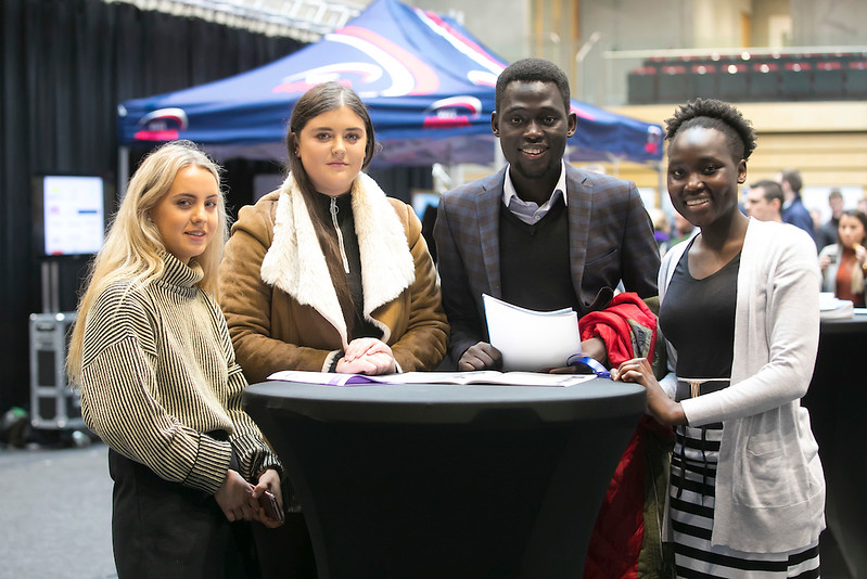 09/03/2019. Pictured at the Waterford Institute of Technology Science Careers Day.  Pictured are Ann Doheny Ballycallan, Chloe Quinn Thomastown, Patrick Qjwe and Pasquinna Sida from Kilkenny City. Picture: Patrick Browne